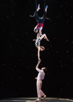 Martin Charrat, Myriam Deraiche, and Samuel Williama Charlton in Cirque du Soleil's 'Paramour', on Broadway at the Lyric Theatre. Photo by Richard Termine