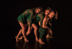 Olivia Kingston, Raegan Williams and Alex Warr in Limitless Dance Company's 'SE7EN'. Photo by Peter Sharp.