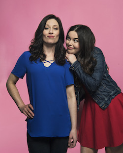 Maggie McKenna (Muriel) and Madeleine Jones (Rhonda) in 'Muriel's Wedding'. Photo by Nic Walker.