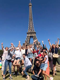 Universal Dance Company at the Eiffel Tower in Paris. Photo courtesy of TP World Tours.