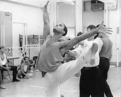 Julio Monge rehearsing for Jerome Robbins' 'Broadway'. Photo by Martha Swope.