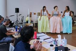 Elandrah Eramiha, Akina Edmonds and Chloé Zuel in rehearsal for 'Hamilton'. Photo by Lisa Maree Williams.