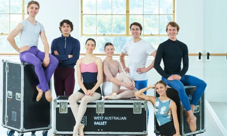 West Australian Ballet's seven new 2022 corps de ballet members. Photo by Frances Andrijich.