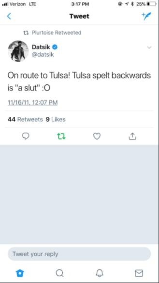 datsik tulsa slut tweet