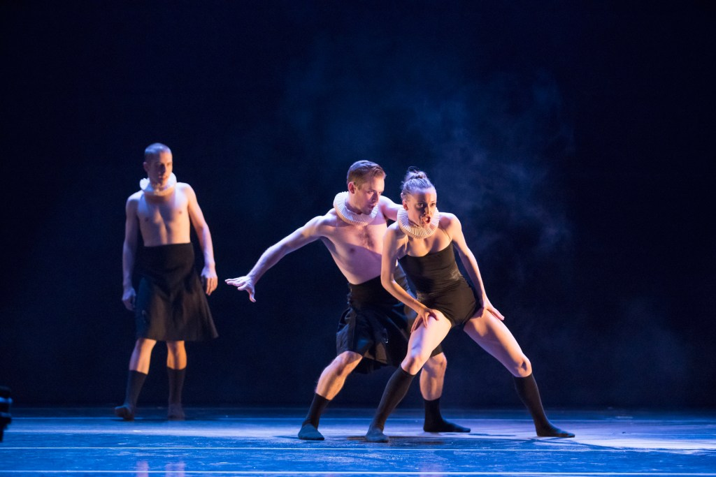 "Visceral Dance Chicago's Noelle Kayser and Braeden Barnes and Joel Waltham in Marguerite Donlon's ""Ruff Celts"". Photo by Todd Rosenberg."