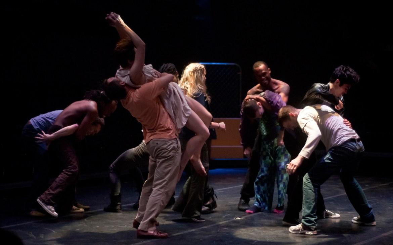 Paul Christiano, Daniel Gibson, Charlie Cutler, Mary Tarpley, Chantelle Mrowka, David Ingram in Chicago Dance Crash's Gotham City (Photo by Emily Coughlin