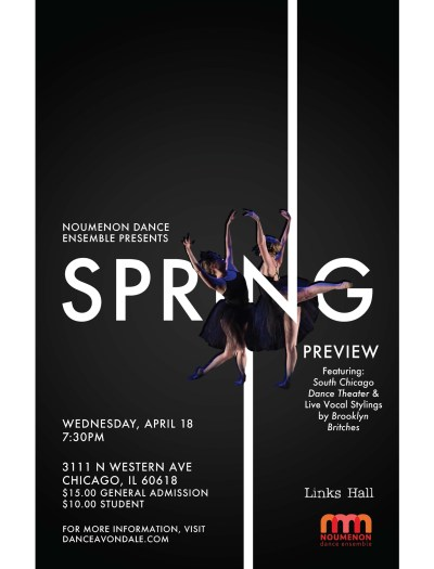 Noumenon Dance Ensemble Spring Preview (Poster created by Agency at Columbia College Chicago)