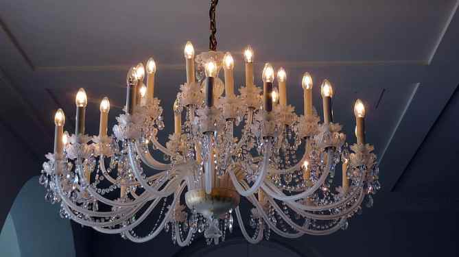 working in a studio with gorgeours chandeliers does wonders for your self-esteem