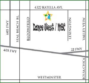 Map to the Dance West Dance Studio
