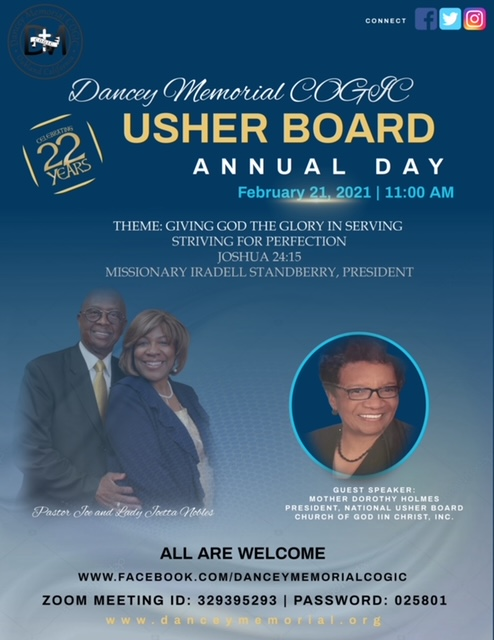 Dancey Memorial COGIC - Annual Usher Board Day - 2021