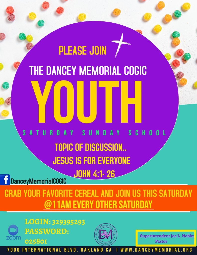 Dancey Memorial COGIC - Oakland CA - Youth Bible Study - Sept 18th -New Banner