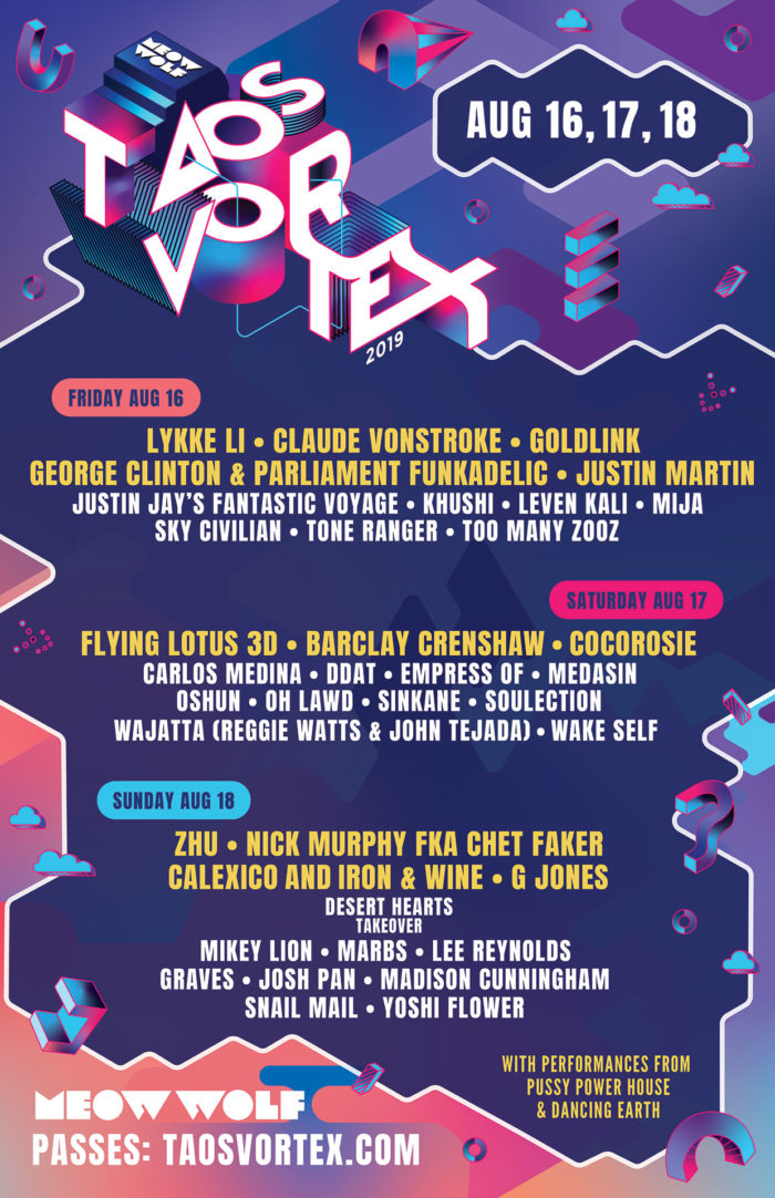 Meow Wolf releases diverse lineup for Taos Vortex including ZHU, Mija, Flying Lotus + moreMeow Wolf Lineup