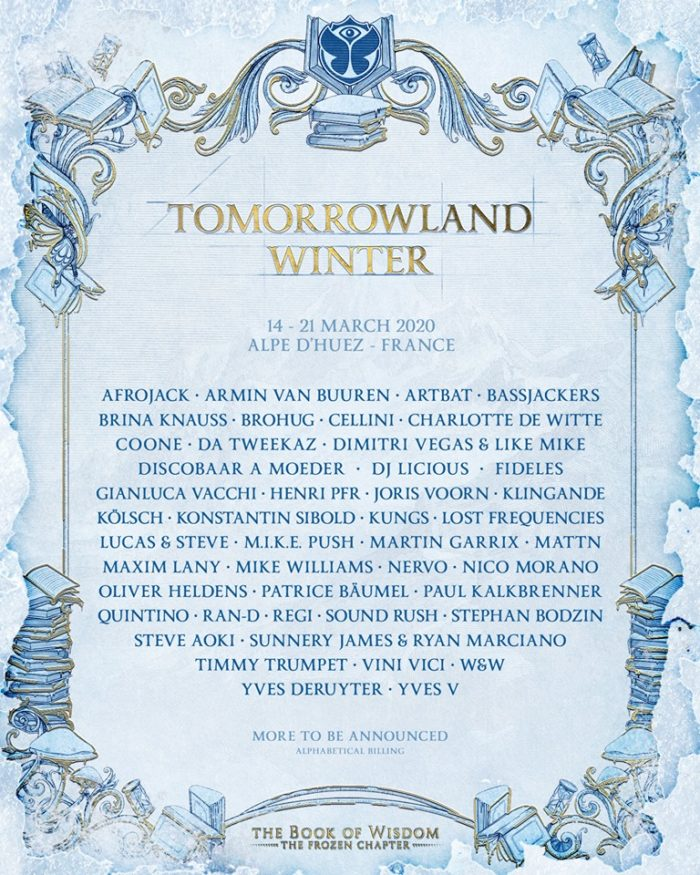 Phase 1 of Tomorrowland Winter's 2020 lineup has arrivedTomorrowland Winter Phase 1 Lineup Flyer