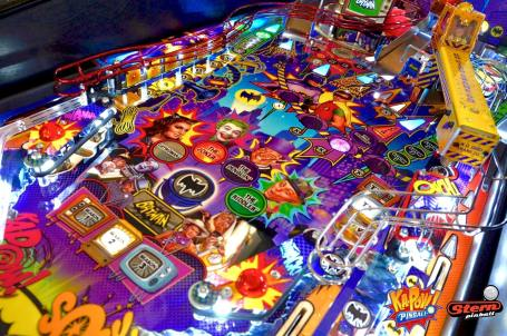 Very colorful picture of a 1960's batman pinball machine