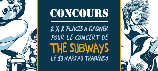 Concours // 2 x 2 places à gagner pour le concert de The Subways le 13 mars au Trabendo