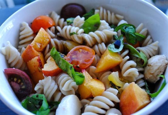 Dancing for Donuts | Peach Caprese Pasta Salad.