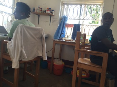 The lab-where the magic happens. Left to right: Olivia, a lab technician and Matovu, an intern.