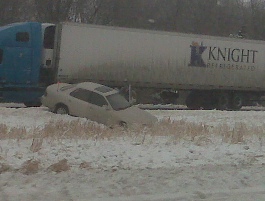 cars and semis were ditched after hitting the ice