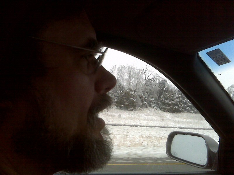 Greg driving through the ice storm