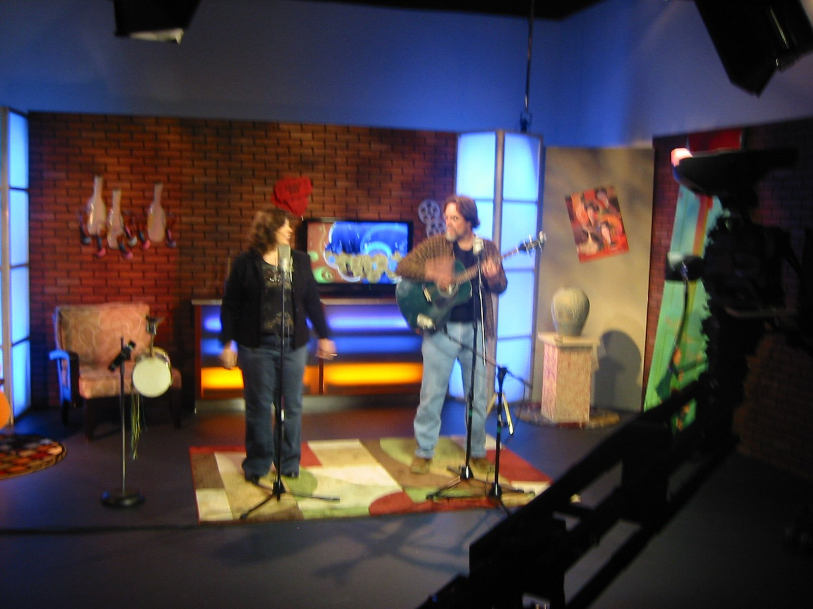 On the set. We recorded 7 songs for Bill's station and the DVD