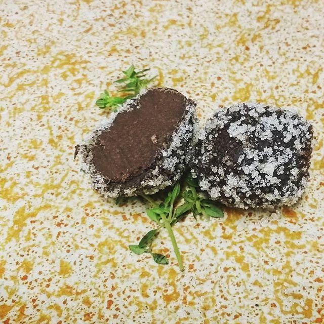 TANGERINE - Fresh oregano and Bahibe Dominican milk chocolate ganache hand rolled in Ghana dark chocolate with candied tangerine@valrhonausa #chocolatier #handrolled #madefromscratch #manchesternh #tangerine