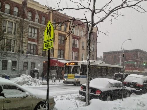 B25 Bus braving Linus snow