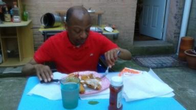 Stephen dining Al Fresco