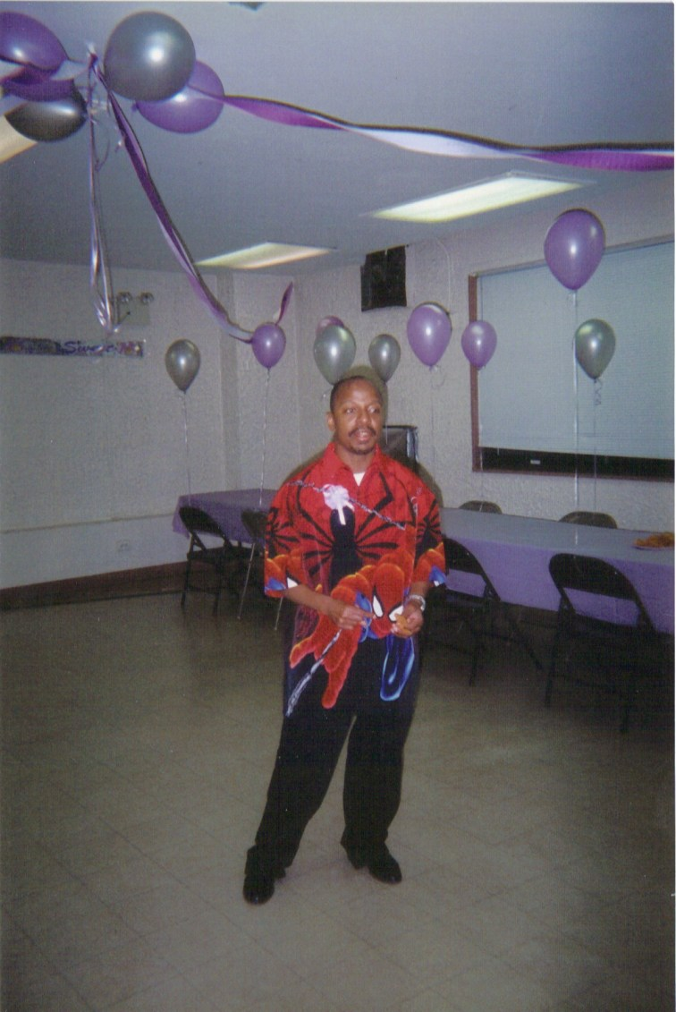 Stephen with Spider-man Party Shirt