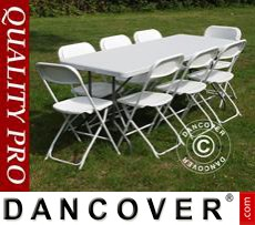 Party package, 1 folding table (182 cm) + 8 chairs, Light grey/White