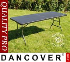 Folding Table Rattan-look 182x74x74cm, Black