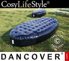 Inflatable bench, Chesterfield style, 1.5x3x0.45 m, Black
