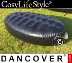 Inflatable bench, Chesterfield style, 1x1.95x0.45 m, Black