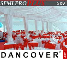 Marquee lining and leg curtain pack, white, for 5x8 m marquee SEMI PRO Plus