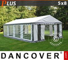 Party Marquee PLUS 5x8 m PE, Grey/White