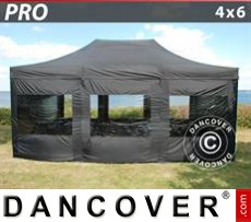 Party Marquee PRO 4x6 m Black, incl. 8 sidewalls
