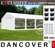 Party Marquee Exclusive 6x12 m PVC, White, Panorama