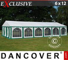 Party Marquee Exclusive 6x12 m PVC, Green/White