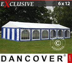 Party Marquee Exclusive 6x12 m PVC, Blue/White