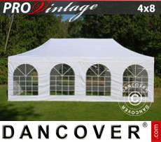 Party Marquee PRO Vintage Style 4x8 m White, incl. 6 sidewalls