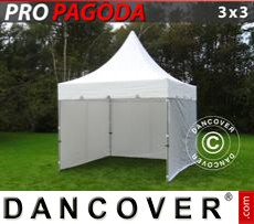 Pop Up Marquee PRO Peak Pagoda 3x3 m White, incl. 4 sidewalls