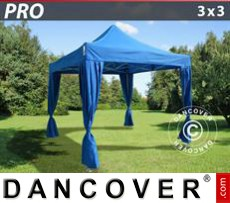 Pop Up Marquee PRO 3x3 m Blue, incl. 4 decorative curtains