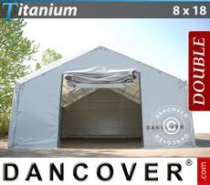 Camper Tent Titanium 8x18x3x5 m, White / Grey