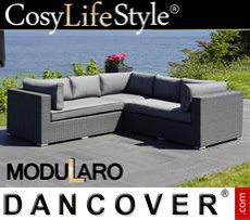 Garden Furniture Lounge Sofa, 3 modules, Modularo, Grey