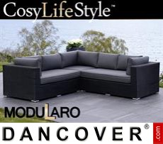 Garden Furniture Lounge Sofa, 3 modules, Modularo, Black