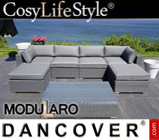 Garden Furniture Lounge Set I, 7 modules, Modularo, Grey