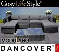 Garden Furniture Lounge Set I, 7 modules, Modularo, Black