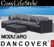 Garden Furniture Lounge Set III, 6 modules, Modularo, Black