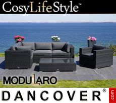 Garden Furniture Lounge Set II, 6 modules, Modularo, Black