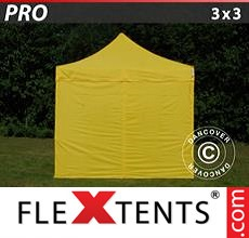 Pop up canopy PRO 3x3 m Yellow, incl. 4 sidewalls