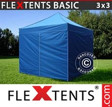 Pop up canopy Basic, 3x3 m Blue, incl. 4 sidewalls